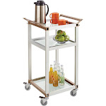 Safco Small Refreshment Cart - Trolley - 3 shelves - aluminum, tempered glass - silver