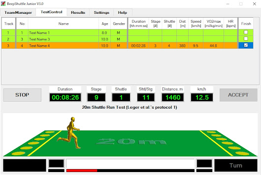 BeepShuttle Junior: Software for assessing aerobic fitness