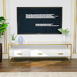 Mecor White TV Stand, Entertainment Center High Gloss 59 Inch Width, 3 Drawers & Open Shelf Console Storage Cabinet, Living Room Furniture