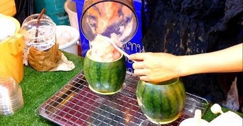 Sinh tố dưa hấu trong trái dưa hấu - Ẩm thực đường phố Thái Lan - Thailand streetfood