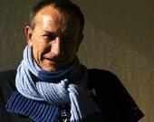 Blue chunky mens scarf gift idea for him - Muza