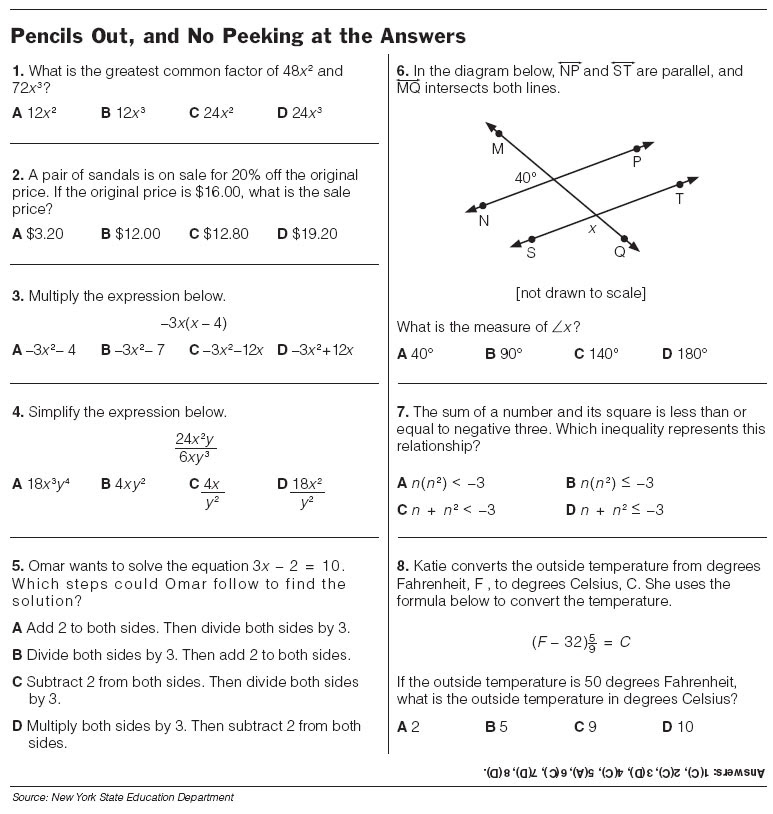 7th Grade Math Test Prep Worksheets Worksheet Kids – Worksheets for 8th Grade Math