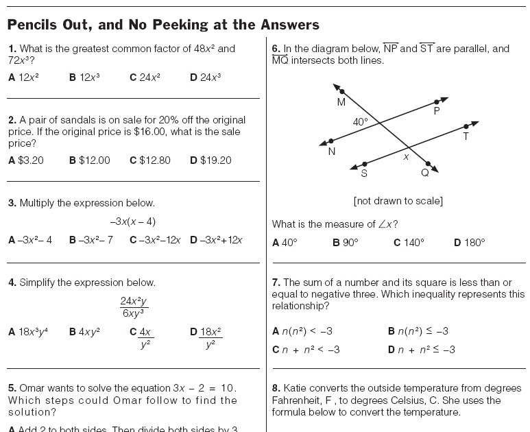 8th Grade Math Test Printable aprita – Math for 9th Graders Worksheets