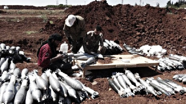 Ahrar al Sham terrorists preparing rockets in preparation for bombardment of Kafarya and Foua