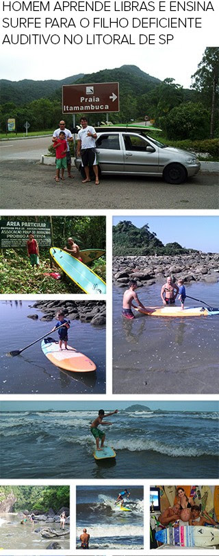 MOSAICO pai aprende libras surfe  filho deficiente auditivo (Foto: Editoria de Arte)
