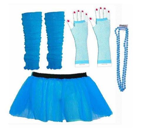 Four Peice Adult Womens 8-14 Neon Blue Turquoise Tutu Se