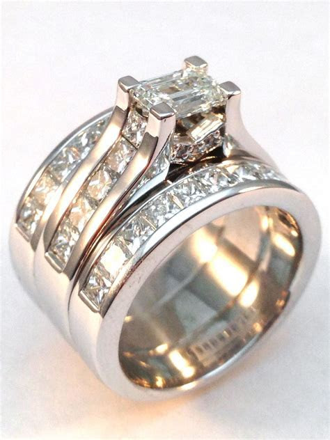 Modern Horizontal Emerald Cut diamond Engagement ring