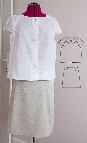 60s style summer suit, Burda 3/2010, szycie, krawiectwo, moda, retro, vintage, żakard, spódnica, żakiet, komplet, PIEGATEX, tkanina strukturalna, marchewkowa, szafiarka, blog