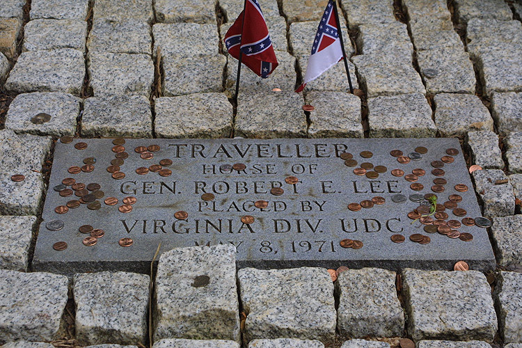 The gravesite for General Robert E. Lee's faithful horse, Traveller next to the Lee Chapel at Washington and Lee University in Lexington, VA.  © Mike Lynaugh
