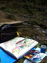 Hiking and Sketching by the Creek