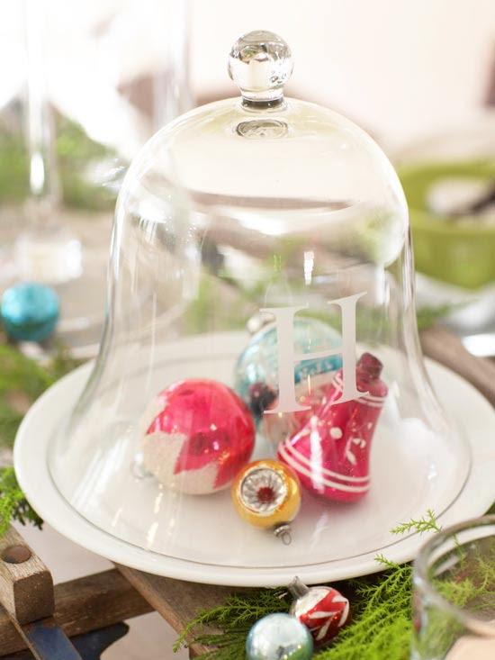 Glass Cloche Holiday Centerpiece