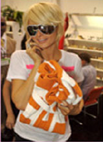 Paris Hilton shopping for Julep Lounge Kashwere Car Coat