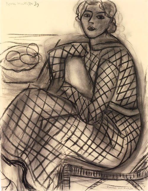 Henri Matisse - Seated Young Woman in Net Dress, 1939. Charcoal on paper, 66.2 x 51cm. Fondation Beyeler, Riehen, Switzerland