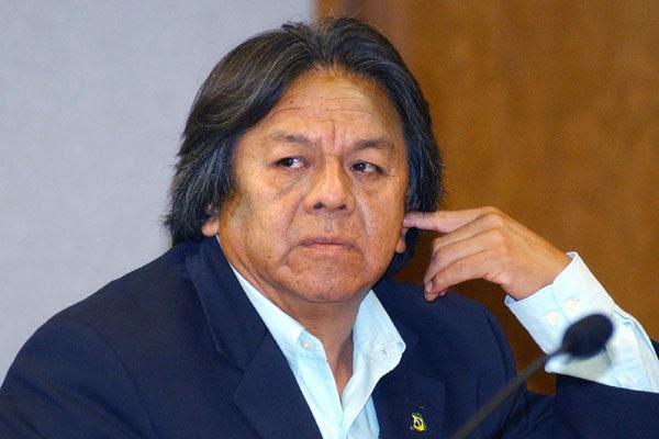 Marcos Terena durante audiência pública sobre a implementação da Declaração das Nações Unidas sobre os Povos Indígenas