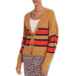 Sanctuary Womens Fall For It Cable Knit Striped Cardigan Sweater Yellow