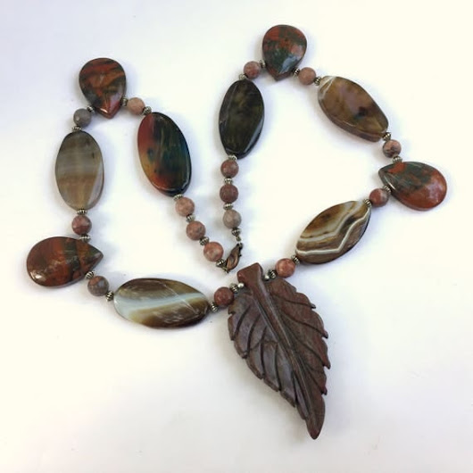 "Brown carved stone pendant necklace, Natural jasper agate, 21"" long statement necklace, Big bold chunky rustic, Multi pendant multi stone"