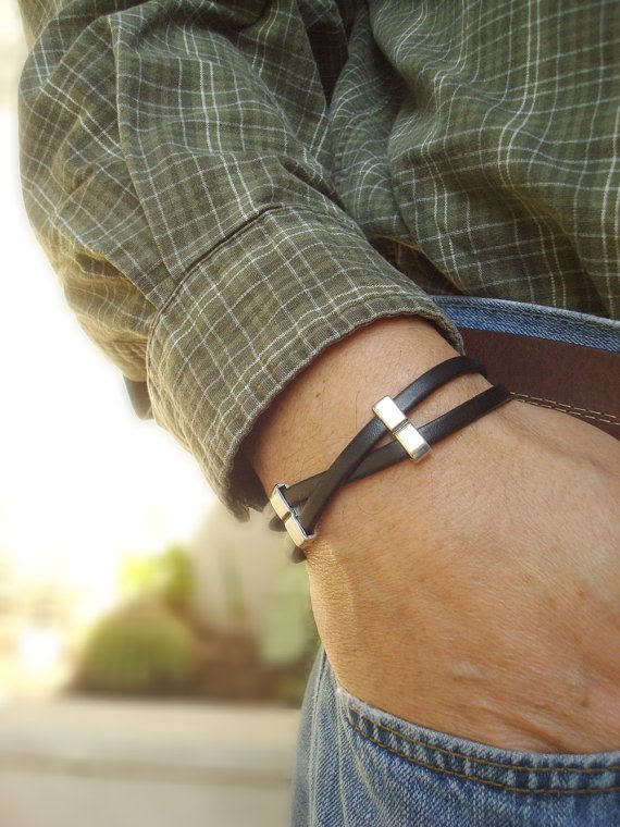 Free Shipping. Men's Leather Bracelet Genuine by SonseraeDesigns, $32.00