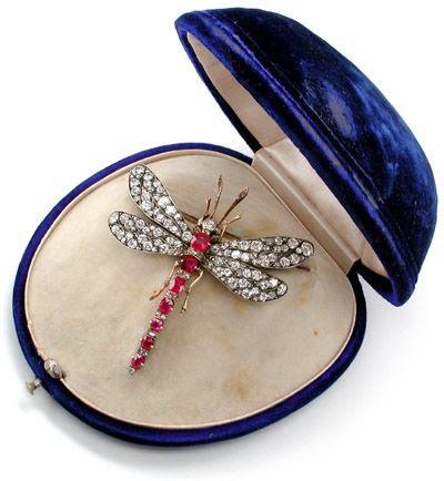 Foto 5, Antik! Diamant-Rubin-Libellen-Brosche Schmuck Portofrei, S8221