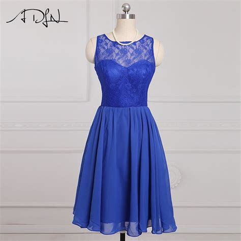 ADLN Stock Cheap Short Bridesmaid Dresses Blue Lace A line