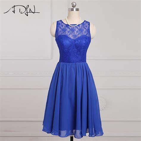 ADLN Stock Cheap Short Bridesmaid Dresses Blue Lace A line