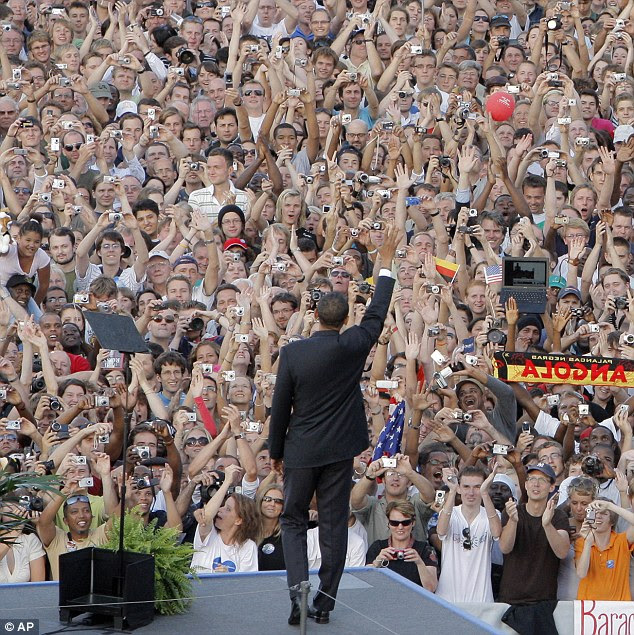 Popularity: The president's likability surged during his speech at the Victory Column in Berlin in 2008