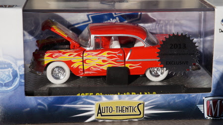 M2 Machines 1:64 Scale Diecast Opening Doors 1955 55 Chevy Bel Air Chase Red / Flames 1:64 White Tires 1 of 492 made worldwide