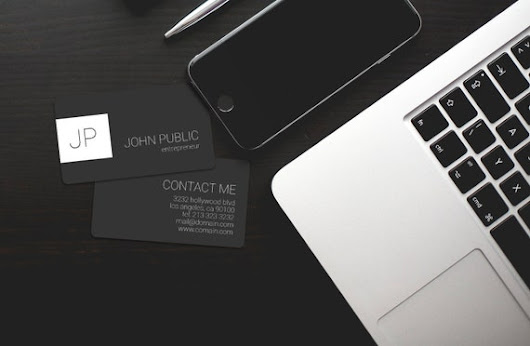 Elegant Minimal Dark Monogram Business Cards PSD  by j32design