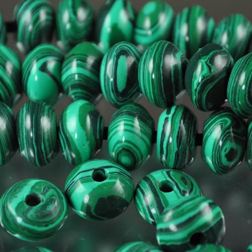 s29758 Stone Beads - 12 mm Big Hole Rondelle Donut - Malachite (Simulated) (1)