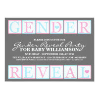 Letter Blocks Gender Reveal Party Invitation