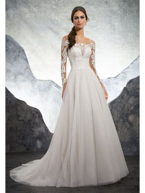 Mori Lee 5602 Kelsey Ivory Lace Illusion Ball Gown Wedding