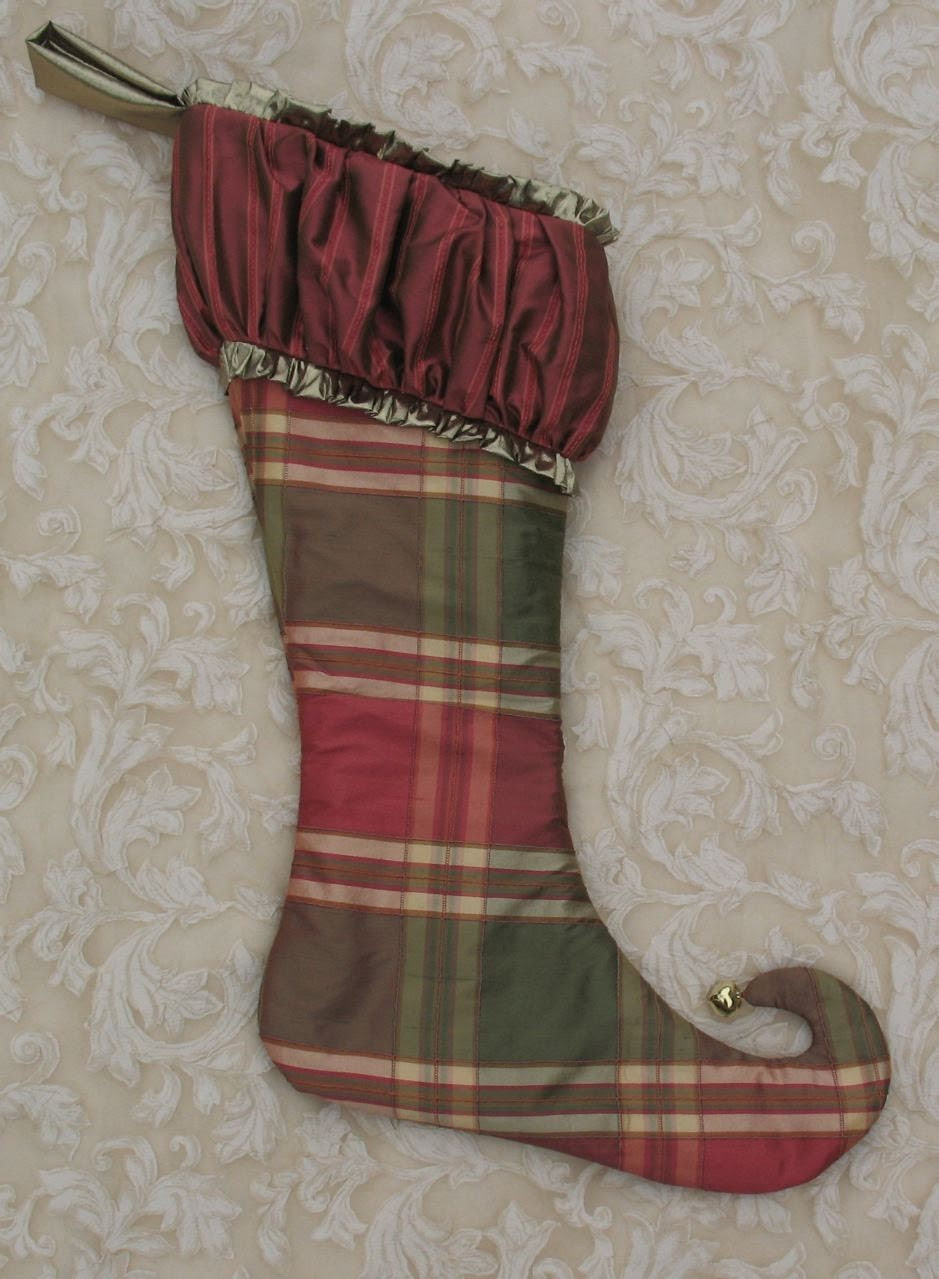 Raspberry and green plaid gathered top Christmas Stocking OOKA