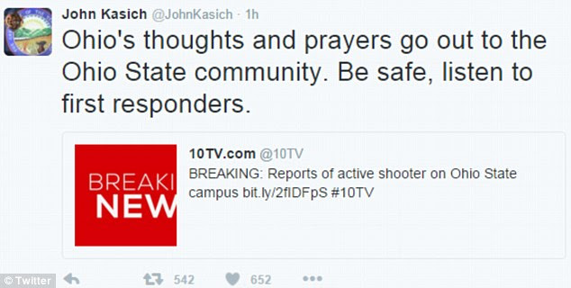 Ohio Governor John Kasich tweeted Monday morning that his thoughts and prayers are with the college's community
