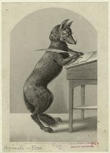 [Fox writing with a quill pen.... Digital ID: 822655. New York Public Library