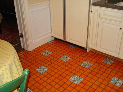 Installation using Portuguese Braganza Tiles as Floor Medallion Inserts