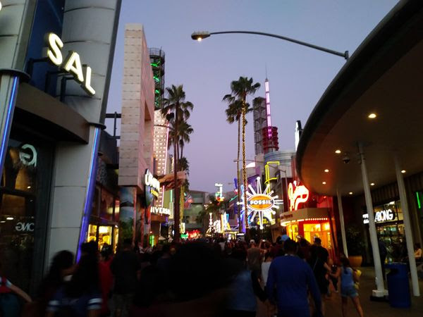 CityWalk is crowded with patrons who've just exited from Universal Studios (next door) after it closed for the day...on August 26, 2018.