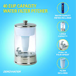 ZeroWater 40 Cup Ready-Pour Glass Dispenser with Water Quality Meter 8 Packs
