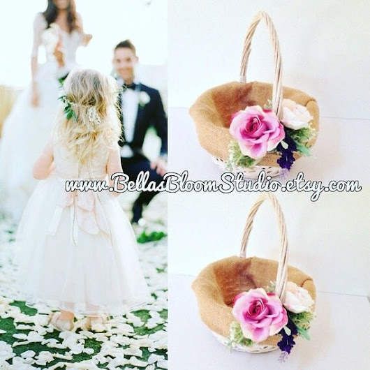 Rustic Basket Flower girl Basket Twig Basket Rustic wedding
