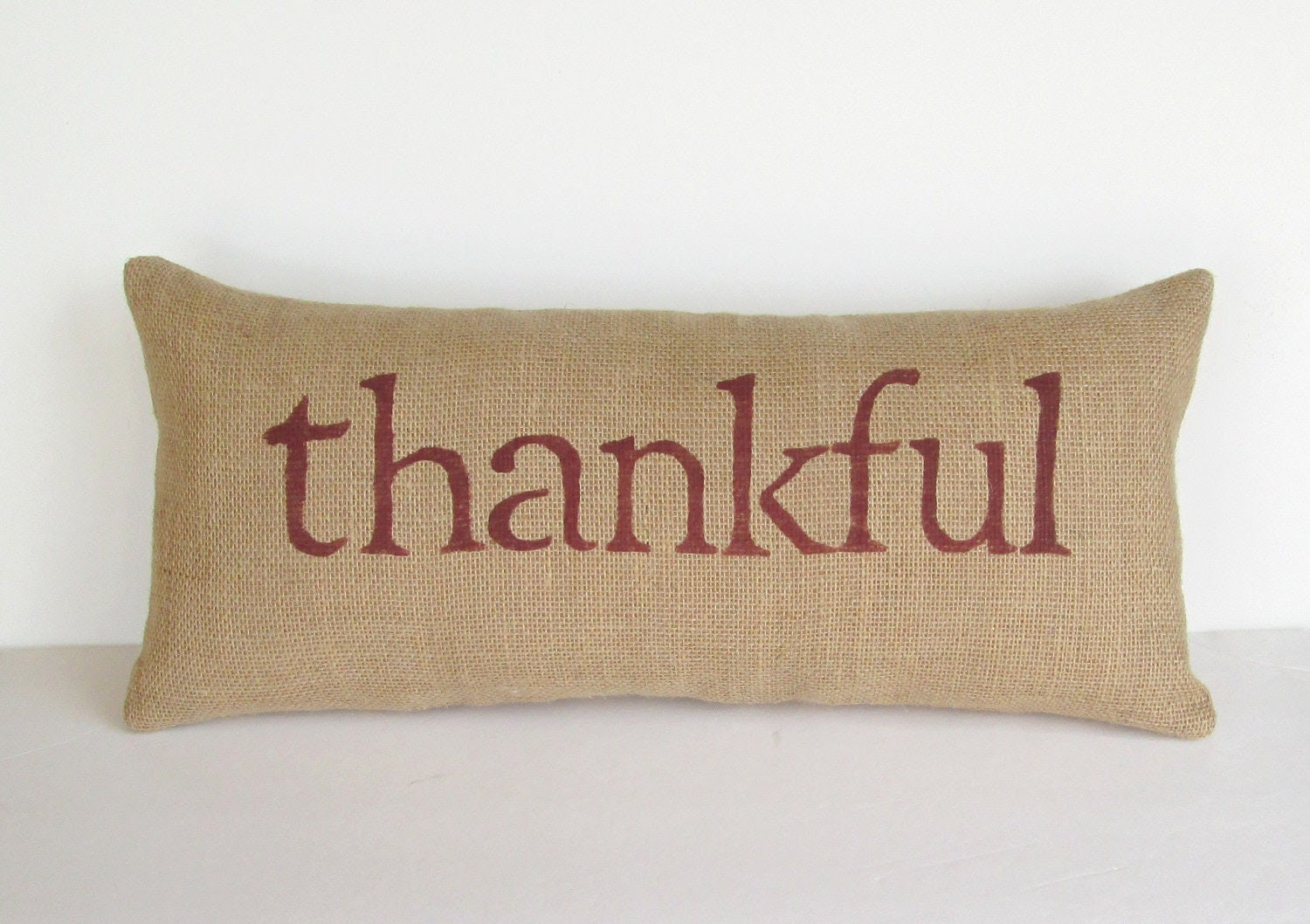 burlap thankful pillow, inspirational decorative pillow, holiday decor, rustic, woodland, Thanksgiving home decor, READY TO SHIP
