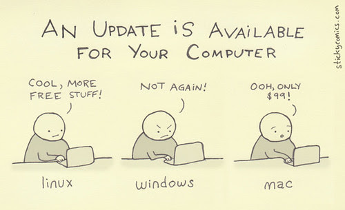 An update / upgrade is available for your [linux / windows / mac] computer...via stickycomics.com