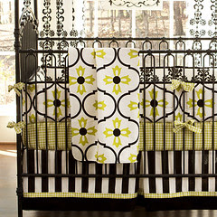 carousel designs logan-black-and-lime-crib-blanket