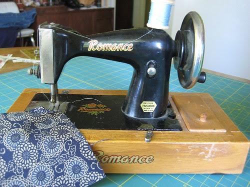 hand crank vintage toy sewing machine