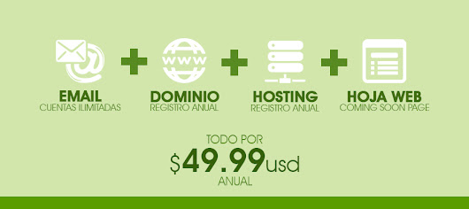 Email + Dominio + Hosting + Hoja Web por $49.99 usd - Nukleo Visual