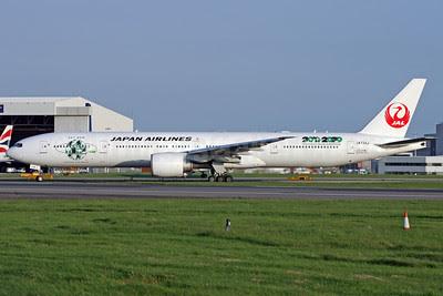 JAL-Japan Airlines Boeing 777-346 ER JA734J (msn 32433) (Sky Eco - Harmony with Nature 2010 - 2020 - United Nations Decade on Biodiversity) LHR (Antony J. Best). Image: 912034.