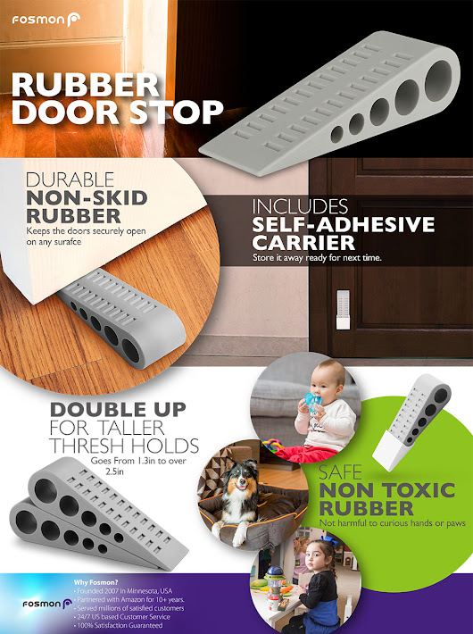 Amazon.com : Door Stopper (3 PACK), Fosmon 1.25-inch Non-Toxic Odorless [Safe for Pets & Kids], Decorative Heavy Duty Rubber Grip, Door Stop Wedge Holders For Wood Carpet Laminate Concrete Floor : Office Products