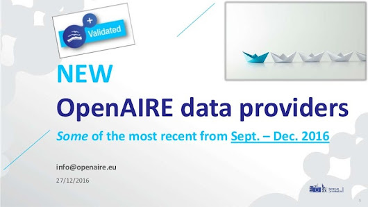 New OpenAIRE data providers: some of the most recent from September t…