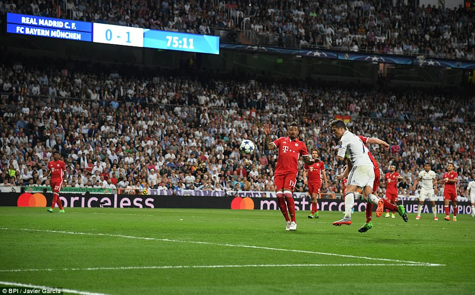 It was the Portuguese who briefly restored parity in the tie when he headed in Casemiro's back post cross with real precision
