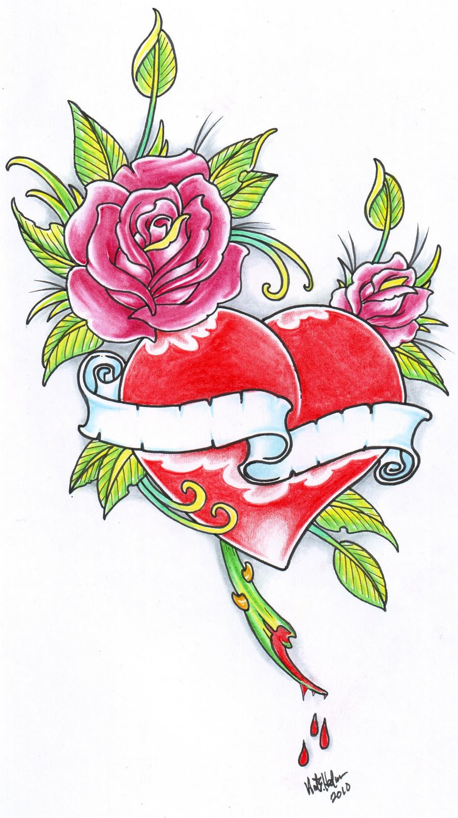 Rose And Heart Tattoos Clipartsco