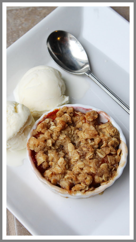 Peach Crisp with Vanilla Ice Cream
