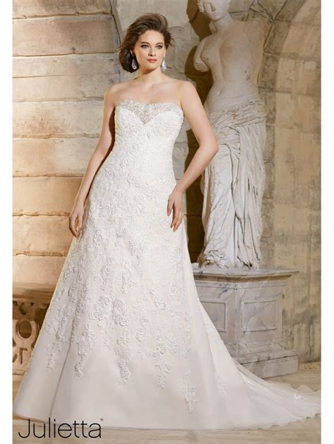 Mori Lee Plus Size Strapless Lace Bridal Gown Ivory