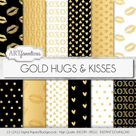 Shimmering Gold Digital Papers GOLD HUGS & KISSES  by Artfanaticus